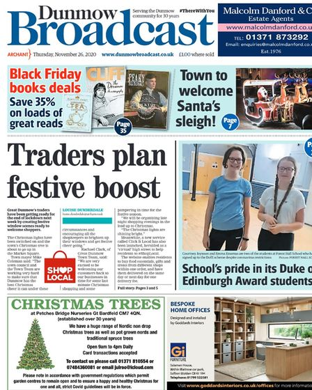 Dunmow Broadcast front page: Traders plan festive boost