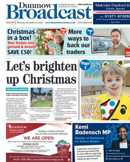 Dunmow Broadcast front page: Let's brighten up Christmas