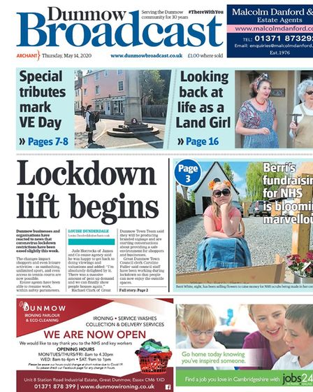 Dunmow Broadcast front page from May 2020: Lockdown lift begins