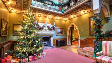 Grand hall in Tyntesfied, Wraxall, decorated for Christmas with lit-up decorated tree with presents underneath and fireplace