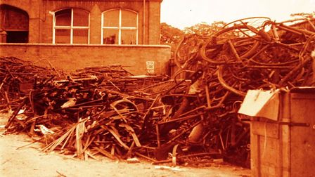 A collection of scrap iron collected to help the war effort - in front of the Art School on the Quay