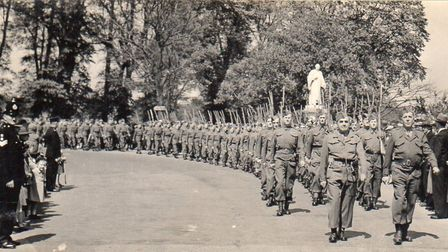 1943 Home Guard parade passing the Kingsley Statue