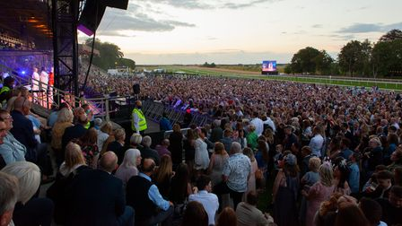 The crowd at Jess Glynne's Newmarket Nights concert at Newmarket Racecourses.