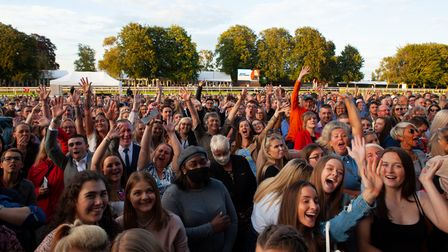 Audience members at Jess Glynne's Newmarket Nights concert at Newmarket Racecourses.