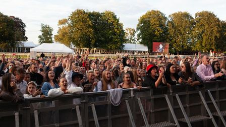 Audience members ar Jess Glynne's concert at Newmarket Nights at Newmarket Racecourses.