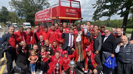 Hornchurch celebrate FA Trophy victory with an open top bus parade around Hornchurch town centre