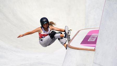 Great Britain's Sky Brown during a run before going on to win bronze in the Women's Park Final at Ar