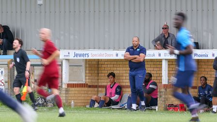 Arlesey Town manager Chico Ramos looks on during the FA Cup extra-preliminary round match with Thetford Town