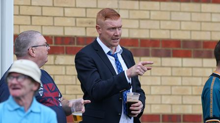 Arlesey Town chairman Dave Kitson chats with fans during the FA Cup match with Thetford Town