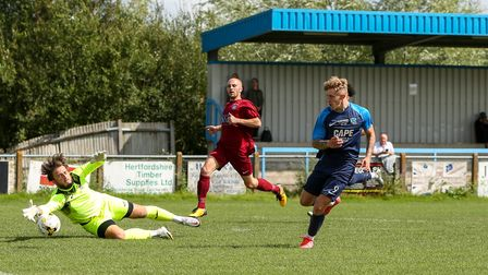 Archie Sayer scores for Arlesey Town against Thetford Town in the FA Cup extra-preliminary round