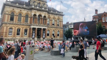 Deckchairs and big screen on the Cornhill