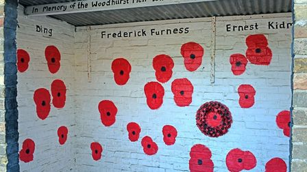 The bus shelter in Woodhurst has been decorated to remember the fallen.