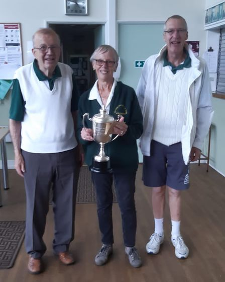 Janice Gower of Potters Bar Bowls Club won the Dearman Cup and was presented with her prize by Alan Dick and Colin Malone
