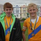 Sam Brueton and Oliver Chalk of Paignton who won the men's under-14 double sculls.