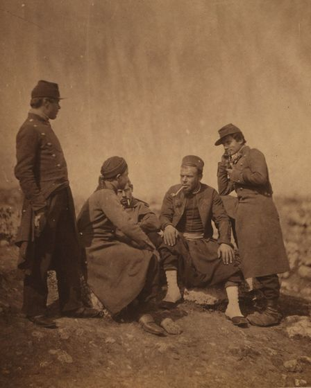 Roger Fenton photographs soldiers during the Crimean War