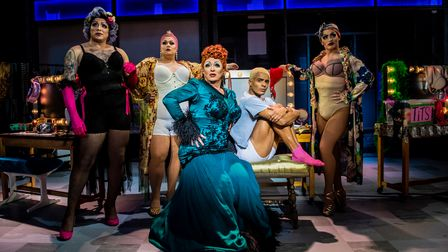 Shane Richie (Loco Chanelle), Layton Williams (Jamie New) and the Drag Queens in the Everybody's Talking About Jamie tour