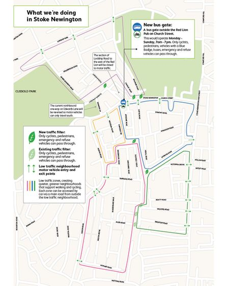 A map of the plans for Stoke Newington low traffic neighbourhood.