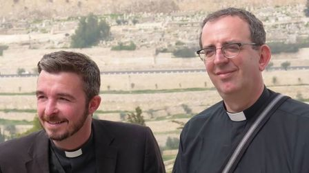David and Richard Coles at the Mount of Olives, 2012
