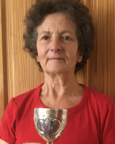 Sue McLoughlin with the silver goblet she bought off eBay which had Thorpe Regatta inscribed on it
