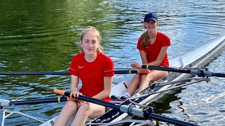 Hannah Chaffe and Nancy Heylen of St Ives Rowing Club after their first win at the Sudbury Regatta