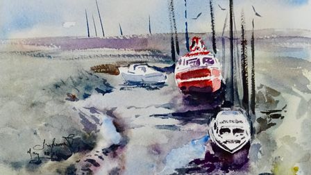 Painting of a red boat in Tollesbury Essex