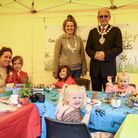Saffron Walden Mayor Richard Porch with Sarah Edgeworth of Gardening for Kids and young crafters, Essex