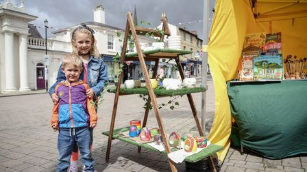 Grace McCarthy aged eight and her brother Austin aged three at the pop-up session in Saffron Walden, Essex