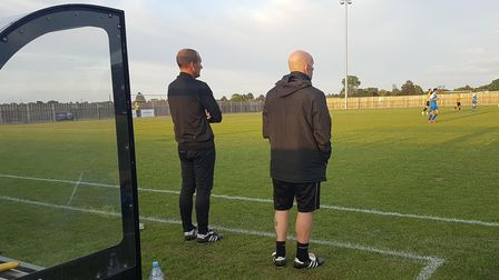 Steve Kuhne (left) saw his Eynesbury Rovers side exit the FA Cup at Potton United.