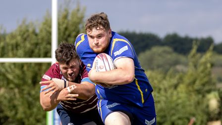 Bradley Robinson goes on the charge for St Ives Rugby Club during their pre-season friendly with Shelford