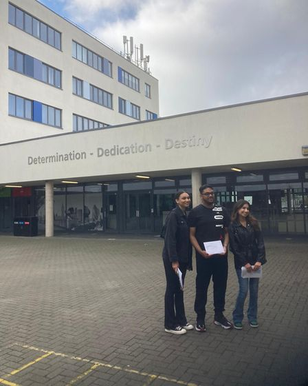 Harris Academy students Amazone, Jahed and Narin