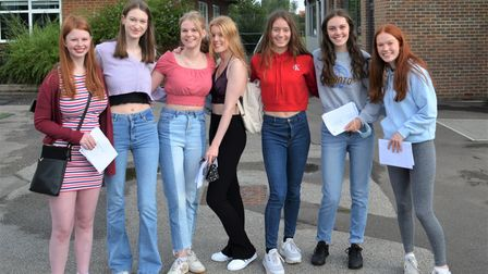 Students from Beaumont School in St Albans celebrate their A Level results.