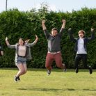 James Dolan, Lucie Robbins, Oliver Betts and Laura Thomson from Copleston celebrate their A-level successes