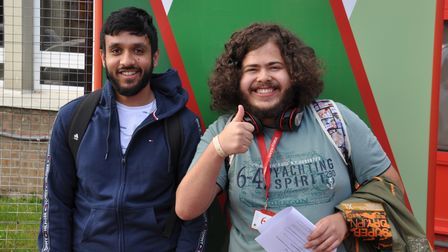 QPCS BTEC students Tayyab (DDD) and Adam (D* D* D*) very happy with their brilliant results.