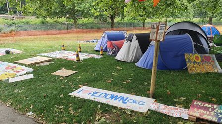 Campaigners at the Hackney Downs camp say they are protesting the coronavirus act.