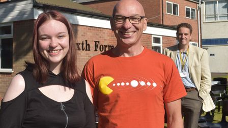 Freya Crack pictured celebrating with her father Robert Crack, science teacher at St Joseph's College