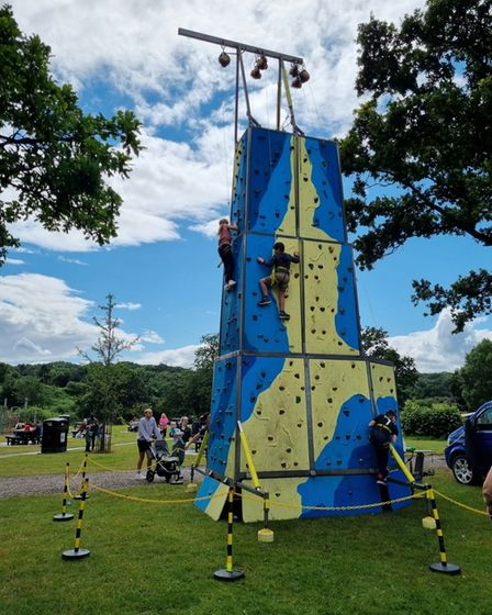 Climbing wall at Bourne Park fun day