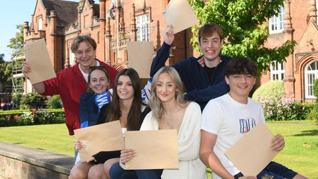Students celebrating their A-level results at Ipswich School