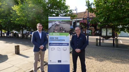 Ryan Fuller and district councillor Keith Prentice on St Neots Market Square.