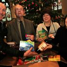 Food donated; L-R: Jamie Hall receives food from Geoff Berridge, Sheila Taylor and Cllr. Linda Chung