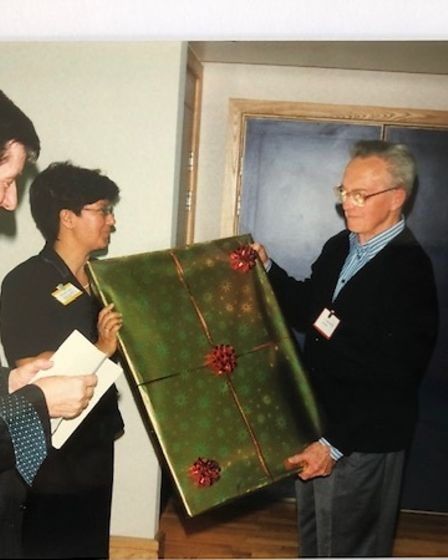 Sheila receiving a presentation in 1998 from Christopher Wade to mark 300 years of the Trust