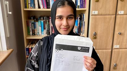 Caterham High School student Sidra Irshad received straight As in her A Level results