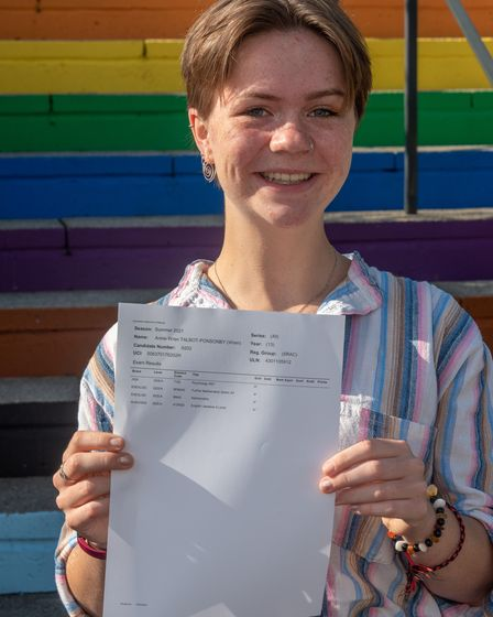 Student Annie Wren celebrating her four A*s A level results at St Katherine's School.