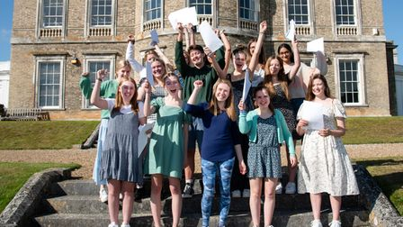 Celebrations for students collecting results at Ipswich High School