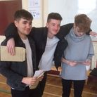 Ewan Kirpalani, Guy Dury Cooper and Connor Geoghegan get their A level results at Sheringham Sixth form
