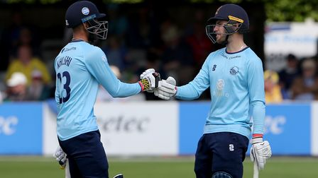 Feroze Khushi (left) and Josh Rymell in action for Essex