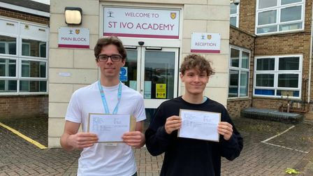 Jack and Theo celebrate their A Level results at St Ivo Academy.