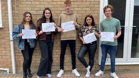 A Level students from Sawtry Village Academy celebrate their success.