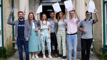 Students with Gosfield School Principal Guy Martyn, celebrating A Level results, Cut Hedge Park, Halstead, Essex