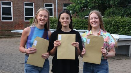 Kesgrave High School students Millie Batho, Maisie Gibbons and Jessica Jay celebrating their results