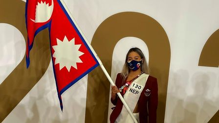 Gaurika Singh as Olympic flagbearer for Nepal at the Tokyo Olympics